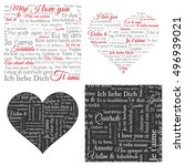word cloud hearts and seamless... | Shutterstock .eps vector #496939021