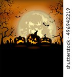 halloween background with scary ... | Shutterstock .eps vector #496942219