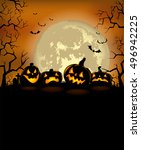 halloween background with scary ... | Shutterstock .eps vector #496942225