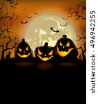 halloween background with scary ... | Shutterstock .eps vector #496942255
