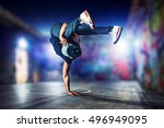 young man break dancing at...   Shutterstock . vector #496949095