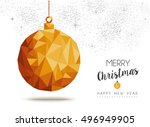 merry christmas and happy new... | Shutterstock .eps vector #496949905