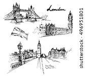 london illustration set  tower... | Shutterstock .eps vector #496951801