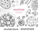 italian cuisine top view frame. ... | Shutterstock .eps vector #496959409