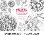 italian cuisine top view frame. ... | Shutterstock .eps vector #496962025