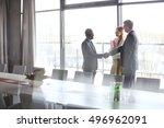 serious mature businessman... | Shutterstock . vector #496962091