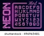 realistic neon purple alphabet... | Shutterstock .eps vector #496965481