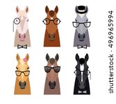 Stock vector vector hipster horse heads in glasses bow and hat collection isolated b flat cartoon style 496965994
