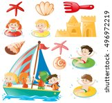 kids on boat and beach objects... | Shutterstock .eps vector #496972219