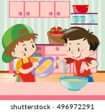 two boys cooking in kitchen... | Shutterstock .eps vector #496972291