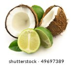 Coconut with lime - stock photo