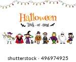 group of kids in halloween... | Shutterstock .eps vector #496974925