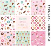 Cute Seamless Pattern Set With...