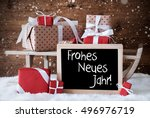 sleigh with gifts  snow ... | Shutterstock . vector #496976719