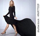 beautiful elegant blonde woman... | Shutterstock . vector #496977319