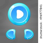 cartoon blue buttons. vector ui ...