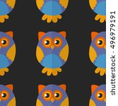 seamsless pattern with cute owl ... | Shutterstock .eps vector #496979191