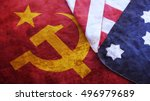 usa flag on ussr flag | Shutterstock . vector #496979689
