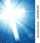 Glowing Cross With Radial Ray...