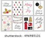 christmas greeting card set.... | Shutterstock .eps vector #496985131