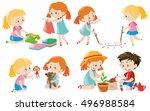 kids doing different activities ... | Shutterstock .eps vector #496988584