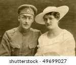 Vintage wedding photo (during First World War) - stock photo