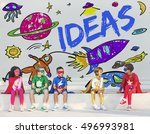 kids imagination space rocket... | Shutterstock . vector #496993981