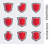 red shield icons. vector set.... | Shutterstock .eps vector #496994581