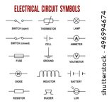 electrical circuit symbols on... | Shutterstock .eps vector #496994674
