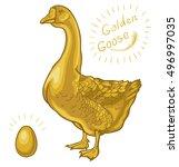 golden goose  goose on a white... | Shutterstock .eps vector #496997035