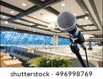 microphone in meeting seminar... | Shutterstock . vector #496998769