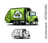 cartoon garbage truck | Shutterstock .eps vector #497001481