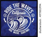 vintage surfing graphics and... | Shutterstock .eps vector #497001994