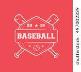 baseball emblem line icon on... | Shutterstock .eps vector #497002339