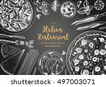 italian cuisine top view frame. ... | Shutterstock .eps vector #497003071