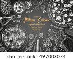italian cuisine top view frame. ... | Shutterstock .eps vector #497003074