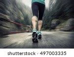 running on the road around... | Shutterstock . vector #497003335