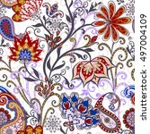 seamless pattern in ethnic... | Shutterstock .eps vector #497004109