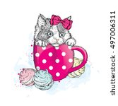 cute kitten in a cup. cup and... | Shutterstock .eps vector #497006311