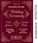 wedding invitation in retro... | Shutterstock .eps vector #497027731