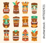 tiki tribal mask   hawaiian... | Shutterstock .eps vector #497032921