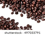 coffee beans isolated on white...   Shutterstock . vector #497033791