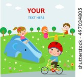 children playing in the public... | Shutterstock .eps vector #497034805