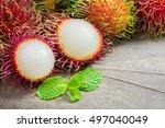 Fresh Rambutan Fruit And Cross...
