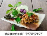 fried spicy boar food thailand... | Shutterstock . vector #497040607