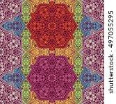 seamless pattern ethnic style.... | Shutterstock . vector #497055295