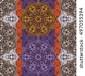 seamless pattern ethnic style.... | Shutterstock . vector #497055394