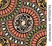 seamless pattern ethnic style....   Shutterstock . vector #497056741