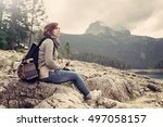 woman traveler with vintage...   Shutterstock . vector #497058157