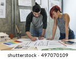 design studio architect... | Shutterstock . vector #497070109